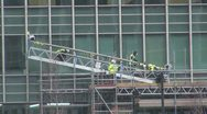 Climbers utility cleaning a office building Stock Footage