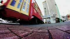 Low Angle New Orleans Streetcar Passes - stock footage
