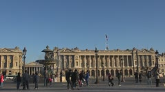 Place de la Concorde, Fontaines, The Madeleine church Stock Footage
