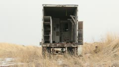 Old Abandoned Semi Trailer - stock footage