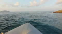 Dinghy small boat in ocean Stock Footage