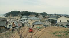 Japan Tsunami Aftermath-Destroyed Neighborhood Stock Footage
