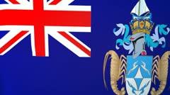Tristan de Cunha Waving Flag Stock Footage