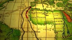 ancient map with dotted lines as paths - stock footage