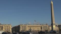 Place de la Concorde and The Obelisk, Monument, paris france street traffic Stock Footage