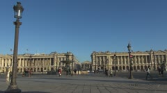 Place de la Concorde, Fontaines, The Madeleine church paris street traffic day Stock Footage