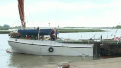 Thames Barge Docking Stock Footage