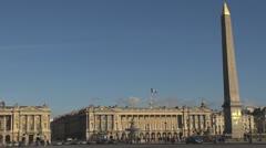 Timelapse Place de la Concorde and The Obelisk, Monument, paris traffic street Stock Footage
