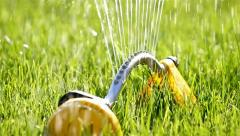 Sprinklers. Sprinkler spraying water on back yard green grass Stock Footage