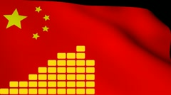 Graph over rippling Chinese flag animation Stock Footage