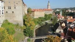View of the old Bohemian city Cesky Krumlov. Panorama - stock footage