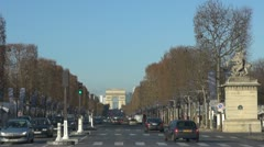 Amazing Arc de Triomphe in Paris  champ elysees street car traffic day Stock Footage