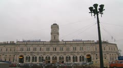 Moscow railway station in saint Petersburg Stock Footage