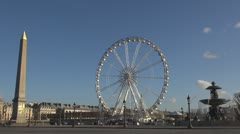 Place de la Concorde Ferris-wheel Paris obelisk timelapse traffic street car day Stock Footage