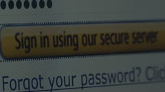 """Sign in using our secure server"" button. Internet Shopping. Stock Footage"