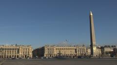 Timelapse  paris Place de la Concorde and The Obelisk, Monument, Stock Footage
