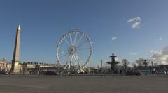 Place de la Concorde and Ferris-wheel paris day tourism tourist monument Stock Footage