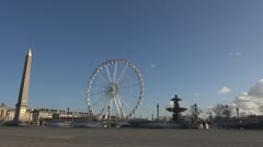 Timelapse Place de la Concorde Ferris-wheel paris obelisk street traffic car day Stock Footage