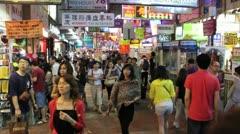 Hong Kong Market Crowd Stock Footage
