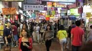 Stock Video Footage of Hong Kong Market Crowd