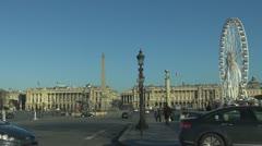 Place de la Concorde and Ferris-wheel street car paris obelisk tourist momnument Stock Footage