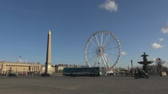 Place de la Concorde and Ferris-wheel Stock Footage
