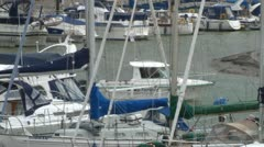 Small Boat in Yacht Haven Stock Footage