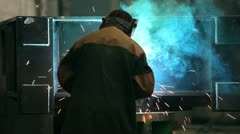Welder works Stock Footage