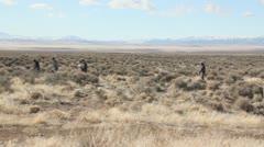 College kids walking through the desert 1 - stock footage
