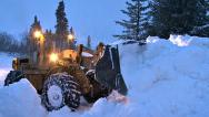 Stock Video Footage of Snow Removal on Road with Loader 1