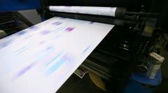 print shop typography machine work with cmyk newspaper - stock footage