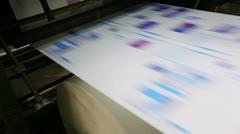 pan on print press typoghraphy machine in work - stock footage