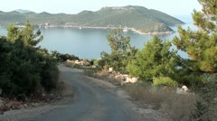 Road downhill view on bay Stock Footage