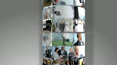 Montage 3D Flat Screen Images Business People Stock Footage