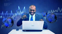 Ethnic Executive Success Virtual Business Environment Stock Footage