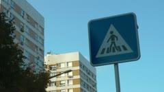 Crosswalk pedestrian signal flashing Stock Footage