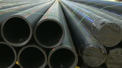 Pipes in construction site dolly shot Stock Footage