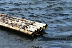 Bamboo raft Stock Footage
