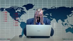 Businessman Downturn Virtual Business Environment Stock Footage