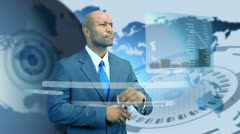 Ethnic Businessman Virtual Business Environment Stock Footage