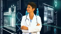 Female Doctor Virtual Medical Studio Environment - stock footage