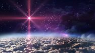 Space night red star Stock Footage