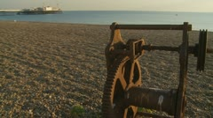 Old fishing eqipment in Brighton (glidecam four) Stock Footage