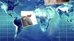 Business videos falling onto world map and globe Stock Footage