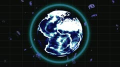 Videos of business people emerge from behind the earth with Earth image courtesy Stock Footage