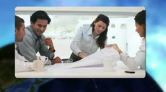 Montage of videos showing business meetings with Earth image courtesy of Stock Footage