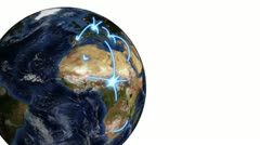 Earth turning as a video of business people appears beside it with Earth image Stock Footage