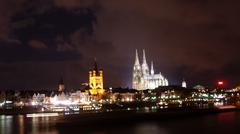 Cathedral and Great Sant Martin church, Cologne - stock photo