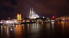 Cathedral and Great Sant Martin church Hohenzollernbridge cologne - stock photo