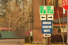 Hurricane Evacuation Route sign in Franklinton, Louisiana Stock Footage